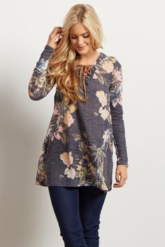 Navy Blue Floral Lace Up Neckline Knit Sweater