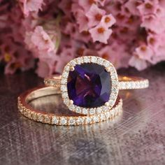 Half Eternity Diamond Wedding Band and Cushion Amethyst Halo Engagement Ring Bridal Set in 14k Rose Gold 8x8mm Purple Gemstone Ring
