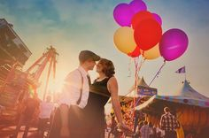 Cute idea for engagement photos, set the tone for a vintage, playful wedding