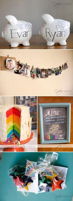 Rainbow themed first birthday party for twins!