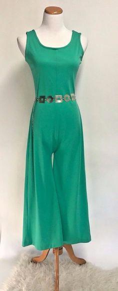 Vintage 60s 70's Mod Retro Glam Green Silver Bellbottom Disco Jumpsuit Romper SM #Unbranded