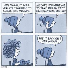 Winter weather = hat hair