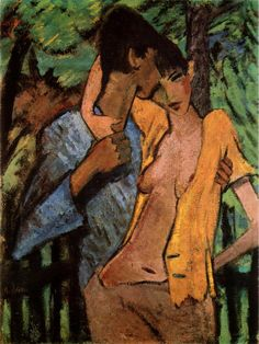 """Liebespaar"" - Otto Mueller (German, Poland, 1919 {figurative art lovers male and semi-nude female standing in forest painting Claude Monet, Albertina Wien, Ludwig Meidner, Karl Schmidt Rottluff, George Grosz, Degenerate Art, Ernst Ludwig Kirchner, Expressionist Artists, Art History"