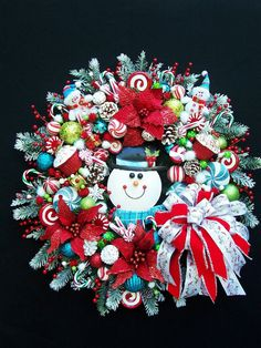 Snowman  Winter  Holiday  Christmas Wreath by UpTownOriginals