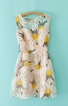 So Pretty! Sunflower Yellow Floral Print Organza Spliced Sleeveless Dress #Sunflowers #Yellow #Floral #Summer #Fashion