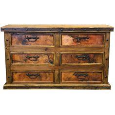 whiskey barrel western rustic patio lighting | Copper 6 Drawer Dresser