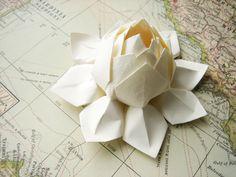 Lotus Flower - Handmade Origami Paper Flower - All Ivory - Winter Wedding, Gift, Table Decoration, Christmas, Holiday Decor. $9.95, via Etsy.