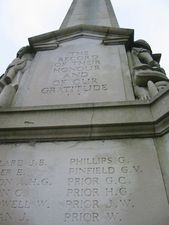"""Bishops Stortford, Hertfordshire (WM669) The inscription carved above a list of the names of the fallen reads:  """"The record of their honour and of our gratitude.""""  © War Memorials T..."""