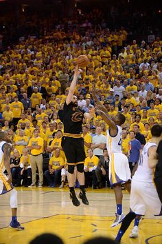 Kevin Love of the Cleveland shoots the ball against the Golden State Warriors in Game Seven of the 2016 NBA Finals on June 19 2016 at ORACLE Arena in...