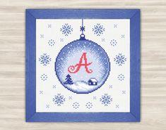 Personalized christmas ball Alphabet Cross Stitch by TimeForStitch