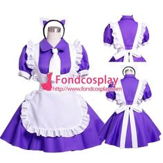 Purple-White Cotton Sissy Maid Dress Uniform Cosplay Costume Tailor-Made[G1567]