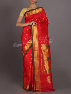 Manasi Ravishing Red Oblique Border Real Zari #PaithaniSilkSaree