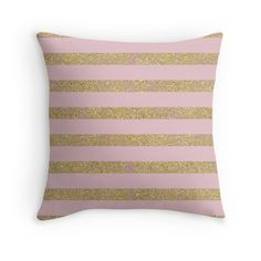 Chic Girly Pink and Gold Glitter Stripes pillow