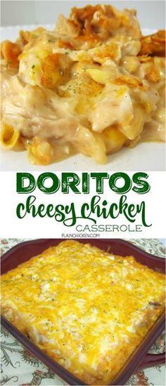 Doritos Cheesy Chicken Casserole - THE BEST Mexican casserole EVER! Chicken, sour cream cream of mushroom, cream of chicken, salsa, corn, cheese and Doritos! Everyone goes nuts over this casserole. Only takes a minute to assemble and it is ready to eat in 20 minutes. SO quick and easy. Great for a crowd - even picky eaters love this!