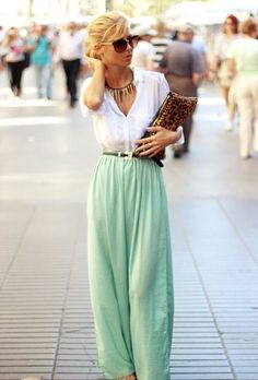 Looking for discount designer fashion? Come visit www.kpopcity.net today!!! such a great outfit. mint palazzo pants, white shirt and leopard clutch. I could wear this. Would look great with nude heels!