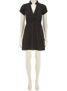 Black small spot v neck dress - Robes - Vêtements - Dorothy Perkins France
