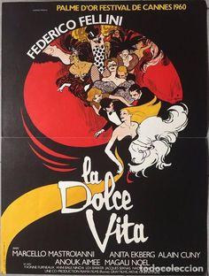 RENÉ GRUAU. LA DOLCE VITA. RE-EDICIÓN DEL CARTEL DE LA PELICULA VERSIÓN FRANCESA EN 1980. - Foto 1