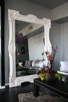 What a great way to make your home look bigger and more grandiose. Big mirrors can do that. You can put big mirrors in any corner of the house.