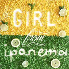 Girl from Ipanema - Garota de Ipanema de Vinicius de Mores #garotadeipanema #girlfromipanema #brasil #cachaca #capirinha #lime #verde #yellow #verdeamarelo #brazil #calligraphy #silvialana  #foodtypography #typography  #fruit #stoned #hanghover #wine  #lettering #quotes #cocktail #ideaforparty #foodlettering #food #cheers