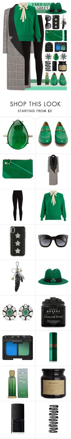 """★ 438: viridescence"" by yuuurei ❤ liked on Polyvore featuring Gucci, J.W. Anderson, Lanvin, Balenciaga, RED Valentino, Coach, Eshvi, Amrapali, NARS Cosmetics and Lipstick Queen"