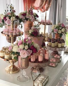 Dessert Table Set Up Wedding ; Dessert Table Set Up - bridal shower decorations Wedding Desserts, Wedding Cakes, Wedding Decorations, Elegant Desserts, Easy Desserts, Sweet Table Decorations, Wedding Shower Centerpieces, 18 Birthday Party Decorations, Wedding Gifts