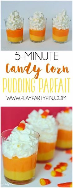 This candy corn parfait is one of the easiest Halloween desserts I've seen and the perfect fall dessert too!