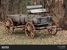 Old Wooden Wagon Stock Photo & Stock Images Horse Wagon, Horse Drawn Wagon, Old Farm Equipment, Wooden Wagon, Old Wagons, Covered Wagon, Chuck Wagon, Horse Carriage, Country Scenes