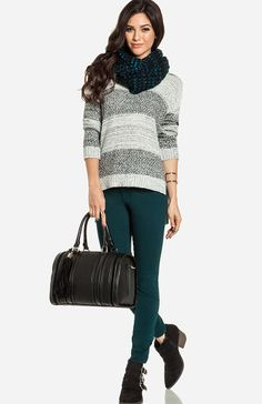Love Winter, Love Colored Jeans and Loved Infinity Scarves combined with Sweaters.