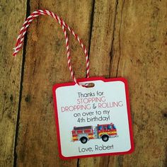 Fireman Birthday Party- Personalized fire truck Party Favors- fire truck Birthday Decorations - firefighter favor tags