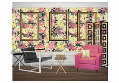 A Mixed Bouquet in a Floral Salon by casart. Create your own interior design moodboard now! Get In The Mood, Mood Boards, Flower Power, Create Your Own, Dining Chairs, Bouquet, Design Boards, Interior Design, Wallpaper