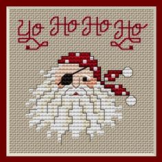 Yo Ho Ho Ho Pirate Santa Cross Stitch Pattern.  *FREE*