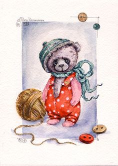 по мотивам работ Нелли Свительской bears dolls toys watercolor postcards открытки куклы мишки тедди акварель: