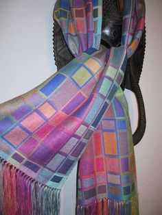MADE TO ORDER for you Handwoven Silk Scarf, Doubleweave Hand Dyed Multicolor Silk Scarf, Accessories by Tisserande by tisserande on Etsy https://www.etsy.com/listing/165465027/made-to-order-for-you-handwoven-silk