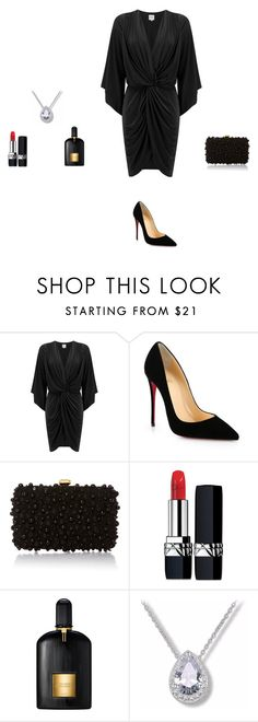black dress by eftimie-gabriela on Polyvore featuring MISA Los Angeles, Christian Louboutin, Elie Saab, Christian Dior and Tom Ford