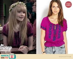 Maya's pink embroidered hippie top on Girl Meets World.  Outfit Details: http://wornontv.net/36935/ #GirlMeetsWorld