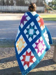 Crochet Quilt Pattern, Granny Square Crochet Pattern, Crochet Blanket Patterns, Crochet Blankets, Crochet Afghans, Crochet Star Blanket, Afghan Patterns, Knitting Patterns, Crochet Hook Set