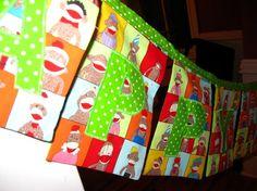 Fabric birthday banner sewn from sock monkey fabric.