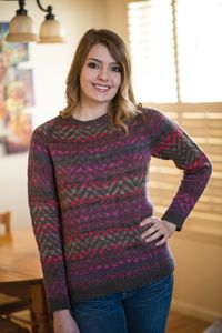 Juneau Sweater from Love of Knitting magazine's Winter 2014 Issue - Stretch your colorwork skills with this remarkable raglan sweater. The floats on the inside provide extra warmth, while the gorgeous geometric pattern makes it an impressive piece. The washable wool will keep you cozy whether you're outside enjoying nature, walking around town with friends, or taking in a movie at your favorite theater.