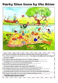 The students have to put the verb stem into the present continuous and then say who says the sentence. - ESL worksheets