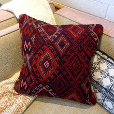 "Beautiful one of a kind pillow created from a handmade vintage Turkish Kilim Rug. No two pillows are exactly alike. Perfect for the modern bohemian home. - Approximately 20"" x 20"" - Ships without stuf"