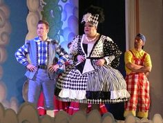 Pantomime Dame Trott - Richard Aucott with sons Jack - Paul Rich and Simon Charlie Condou in Panto Jack and the Beanstalk at Princes Theatre - Clacton-on-Sea