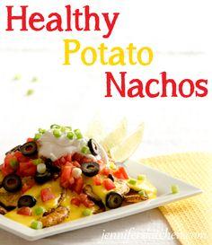 Healthy Vegan Potato Nachos w/ Homemade Cashew Cheese Sauce Vegan Mexican Recipes, Vegan Recipes, Potato Recipes, Mexican Main Dishes, Potato Nachos, Healthy Potatoes, Vegan Nachos, Best Party Food, Island Food