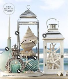 Fill your own lanterns with seashells, sand, starfish