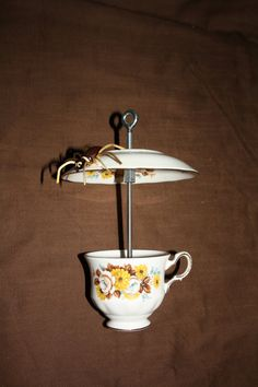 Cup and Saucer Bird Feeder by estatetransition on Etsy