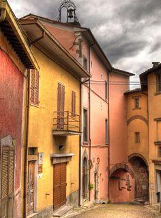 Street in the hilltop village of Monterchi, Italy