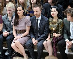 Dita Von Teese Photos Photos - (L-R)  Jonnie Peacock, Victoria Pendleton, Aaron Paul, Dita Von Teese and Harry Styles attend the Burberry Spring Summer 2013 Womenswear Show - Front Row at Kensington Gardens on September 17, 2012 in London, England. - Burberry Spring Summer 2013 Womenswear Show - Front Row