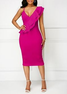Silhouette:Bodycon Dress Length:Knee-Length Sleeve Length:Cap Sleeve Neckline:V-Neck Combination Type:Single Waist Line:Standard-Waist Closure:Pullover Elasticity:Inelastic Pattern:Plain Embellishment:Asymmetric,Falbala. Plain Dress, Skinny Girls, Dress Silhouette, Rose Dress, Ootd, Women's Fashion Dresses, Fashion Shoes, Designer Dresses, Bodycon Dress