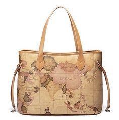 Damen Tasche Schultertasche Handtasche Tragetasche Landkarte Braun 1170304-05