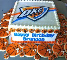 Oklahoma City Thunder Birthday Cake with matching cookies!