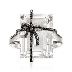 Rock Crystal and .27 ct. t.w. Black Diamond Bow Ring in Sterling Silver